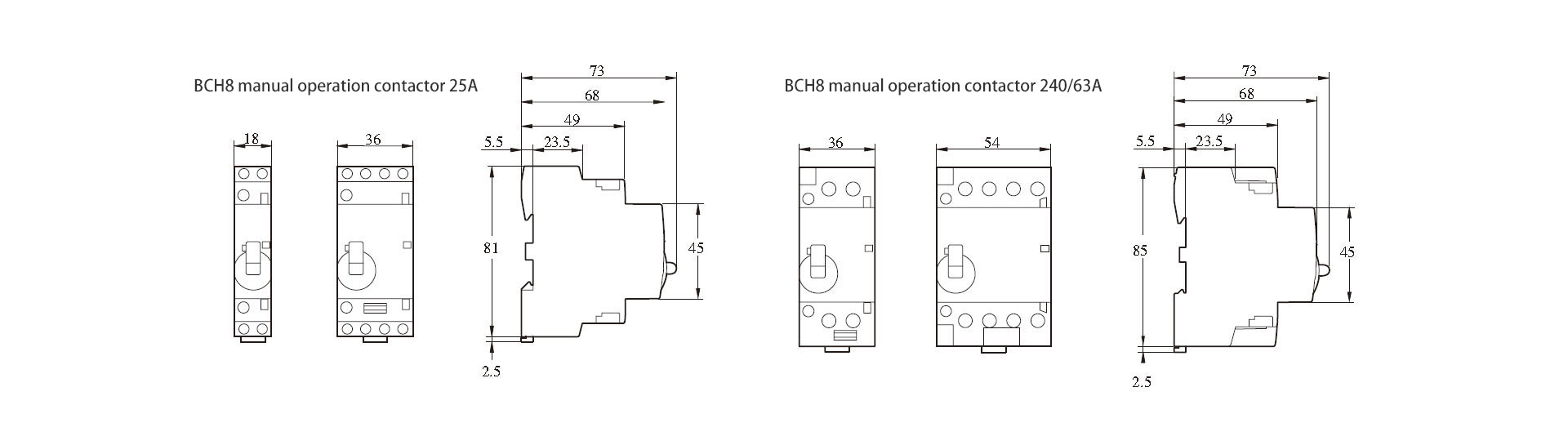 BCH8-25M 2P Manual contactor - Yueqing Boomgi Electric Co , Ltd